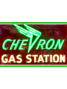 Chevron Gas Station Neon Stylized Metal Sign