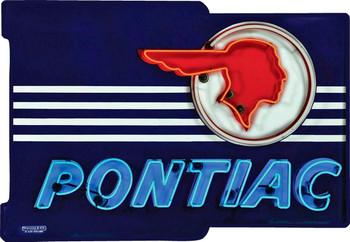 Pontiac Neon Stylized Plasma Cut Metal Sign