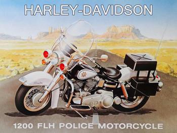 1200 FLH Police Motorcycle Harley Davidson Metal Sign