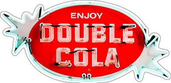 Double Cola Neon Stylized Metal Sign
