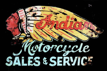 Rustic Indian Sales and Service Motorcycle Metal Sign