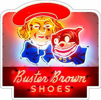 Buster Brown Shoes Neon Style Metal Sign