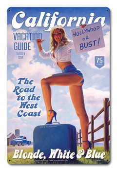 California Vacation Guide Blonde White and Blue by Greg Hildebrandt Metal Sign