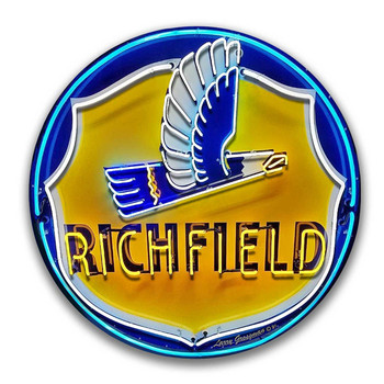 "Richfield Neon Style 14"" Round Metal Sign"