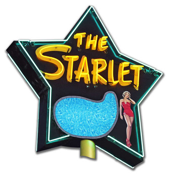 The Starlet Motel Neon Stylized Plasma Cut Metal Sign