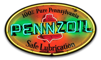 Penzoil Lubrication Neon Stylized Metal Sign