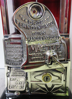 Masters Penny/Nickel Operated Peanut/Candy Machine circa 1930's Red/Black