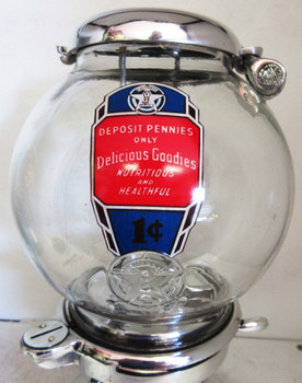 "Columbus Model ""A"" Peanut Dispenser Penny Operated Circa 1930's Polished Aluminum"