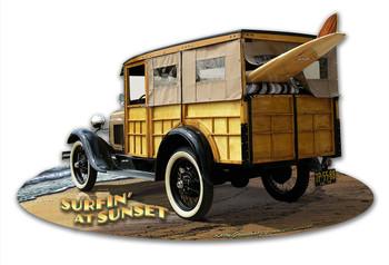 1929 Woody at Sunset Plasma Cut Metal Sign