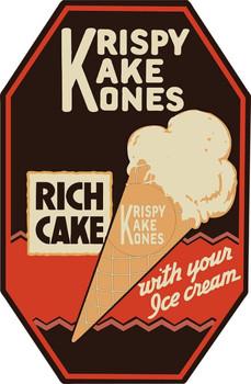 Krispy Kake Kones Ice Cream Advertisement Plasma Cut Metal Sign
