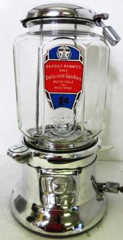 """Columbus Model """"46M"""" Peanut Dispenser Penny Circa 1930's Aluminum"""