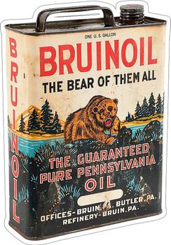 Bruinoil Pure Pennsylvania Oil Can Plasma Cut Metal Sign