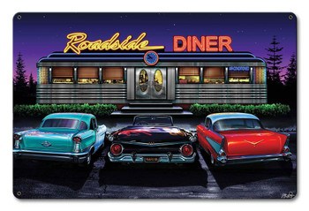 Roadside Diner Off Route 66, Classics Welcome, Metal Sign by JG Studio