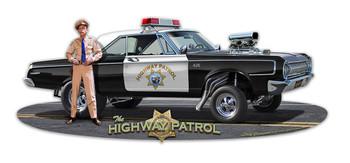 Highway Patrol Car and Police Officer Plasma Cut Metal Sign