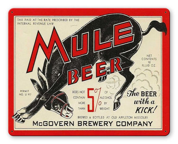 Mule Beer McGovern Brewery Company Alcohol Metal Sign