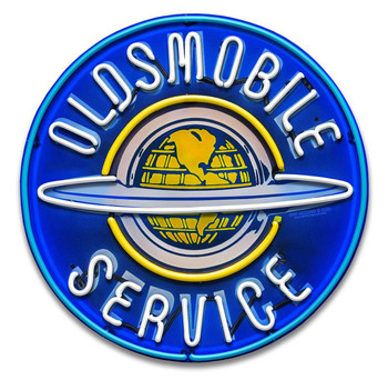 Oldsmobile Service Neon Stylized Round Metal Sign by Larry Grossman