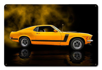 1970 Ford Yellow Mustang Boss 302 Fastback Muscle Car Metal Sign by Rat Rod Studios