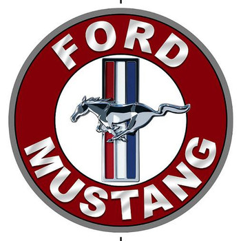 "Ford Mustang (round 12"" metal sign)"