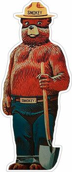 Smokey Bear Forest Mascot Plasma Cut Metal Sign