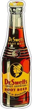 Drink Dr. Swett's The Original Root Beer Bottle Shaped Plasma Cut Metal Sign