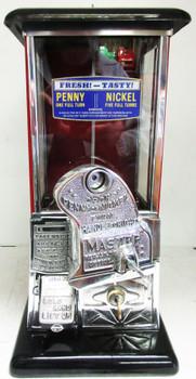 Masters Penny/Nickel Operated Bulk Vender Machine circa 1930's Red/Black