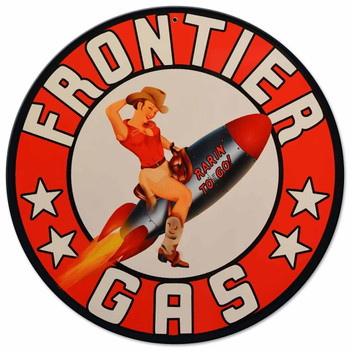 "Frontier Rocket Girl Pin Up 14"" Round Metal Sign"