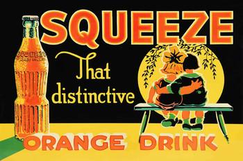 Squeeze Orange Drink, Soda Advertisement Metal Sign
