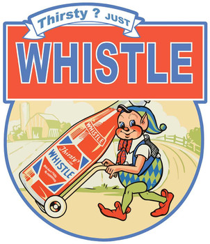 Thirsty Just Whistle, Whistle Soda Elf Plasma Cut Metal Sign