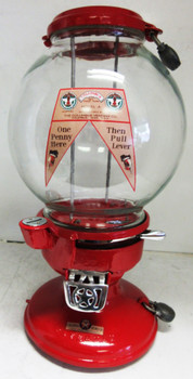 """Columbus Model """"A"""" Red Peanut Dispenser Penny Operated Circa 1930's"""