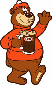 Rooty the Great Root Bear A&W Mascot Metal Sign