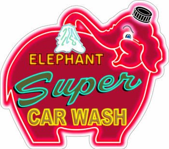 Elephant Super Car Wash Neon Stylized Plasma Cut Metal Sign
