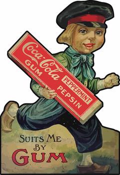 Coca-Cola Peppermint Pepsin Gum Vintage Advertisement Reprint on Metal Sign