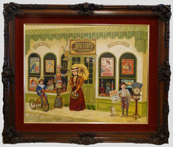 Jacob's Pharmacy by Lee Dubin Framed Original Painting