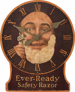 Ever Ready Safety Razor Faux Clock Wood Print Metal Sign