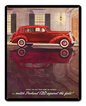 1936 Red Packard Advertisement Metal Sign