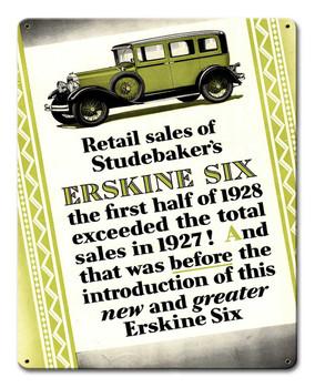 1928 Studebaker Erskine Six Advertisement Metal Sign