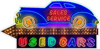 Sales Service Used Cars Rainbow Neon Style Plasma Cut Metal Sign