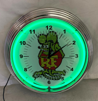 Rat Fink Green Single Neon Clock