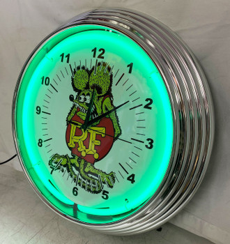 Rat Fink Green Single Neon Clock