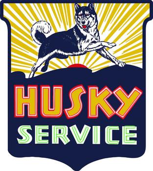 Husky Service Gasoline Shield Neon Stylized Metal Sign