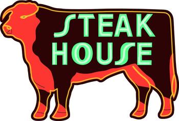 Steak House Steer Neon Stylized Metal Sign