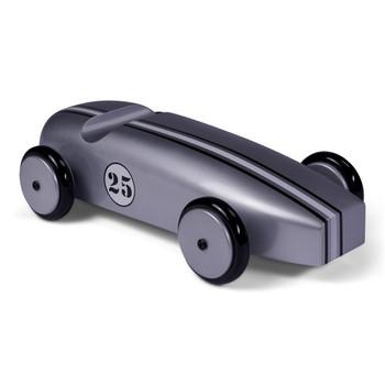 Silver Metallic Mahogany Model Racing Car
