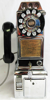Automatic Electric Chrome Pay Telephone 3 Coin Slot 1950's Rotary Dial