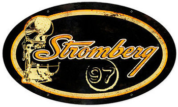 """Stromberg Oval Metal Sign 24"""" x 14"""""""