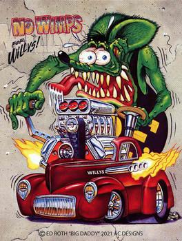 No Wimps for Willys Rat Fink Metal Sign