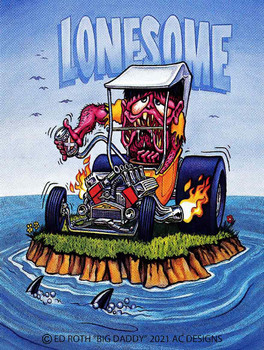 Lonesome Hot Rodder Monster, Shark Bait Rat Fink Metal Sign