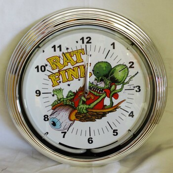 Rat Fink Flying Eyeball Green Single Neon Clock