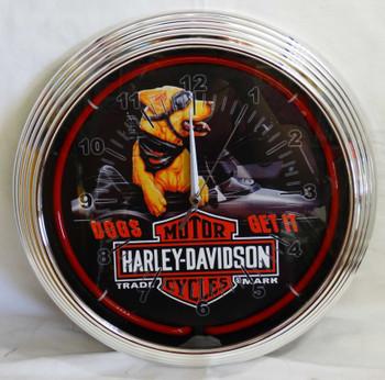 Harley Davidson Dog's Get It Red Single Neon Clock