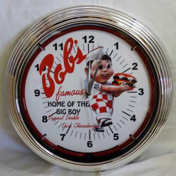 Bob's Home of the Big Boy Original Double Deck Cheeseburger Red Single Neon Clock