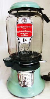 Columbus Model M 1c Bulk Dispenser circa 1930's Green Porcelain